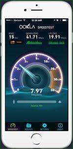 Een smartphone met een speedtest erop